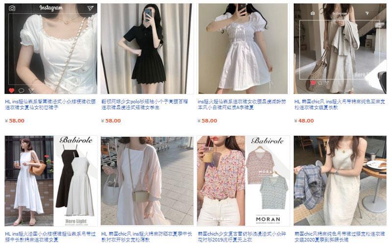 Các mẫu váy moran phong cách Hàn Quốc được bày bán